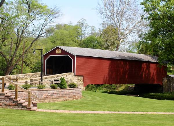 The Kreidersville Covered Bridge Association is offering framed prints of its bridge (pictured here) for sale as a fundraiser for the organization.