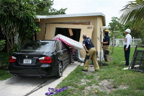 Car In House Fort Lauderdale Man Crashes Car Into His