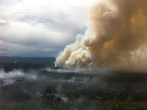 The Bear Creek fire is burning about 80 miles southwest of Fairbanks, along the Parks Highway.