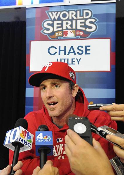 The Phillies' Chase Utley, here talking to the media during the 2009 World Series, will play for the IronPigs tonight.
