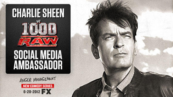 "Charlie Sheen will be the WWE's social media ambassador during the 1,000th episode of ""Monday Night Raw."""