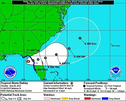 Tropical Storm Debby is projected to make landfall near Cedar Key.