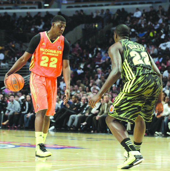 Kentucky coach John Calipari said Monday that incoming freshman Alex Poythress, left, seen playing in the McDonalds All-American game in March, is a beast. He is going to be another wing that runs and can make plays and score the ball. He shoots good, but he has to get more consistent.