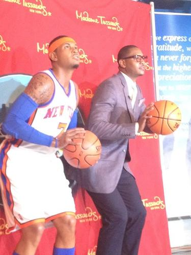 New York Knicks star gets his likeness in wax at Madame Tussauds New York. Which one is the real Melo?