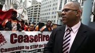 Tio Hardiman, director of CeaseFire at a protest in front of the James R. Thompson Center to keep funding for the group on April 29, 2010. Nancy Stone, Chicago Tribune