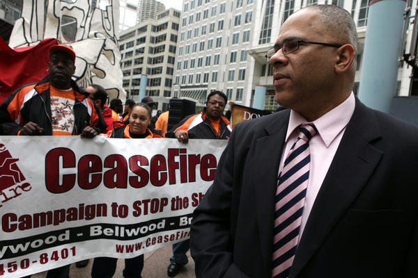 Tio Hardiman, director of CeaseFire at a protest in front of the James R. Thompson Center to keep funding for CeaseFire on April 29, 2010.