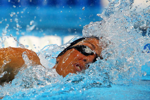 Janet Evans in Tuesday's 400-meter freestyle heats.