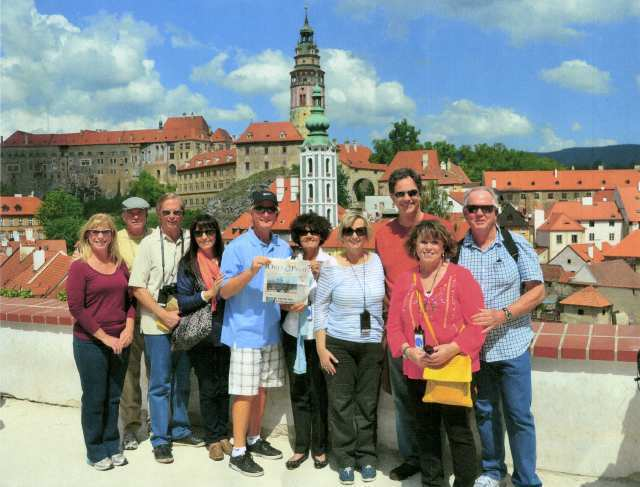 Sharon and Dennis Tase, Bob and Ali Bartholomew, Doug and Carol Hanes, Leslie and Craig Kennedy, and Robin and Denis LaBonge gather in Èeský Krumlov, Czech Republic, while on vacation.