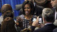 Michelle Obama in town to raise money, attend veterans event