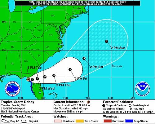 Tropical Storm Debby is projected to cross the state as a depression.