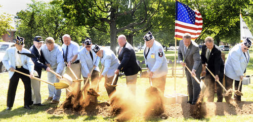 The wind blows the soil during a groundbreaking ceremony for the Korean War monument at Mealey Parkway in Hagerstown.