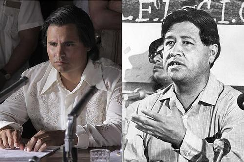"""Cesar Chavez, right, in 1972 is portrayed in film for the first time by Michael Pena, left, in """"Chavez"""" directed by Diego Luna."""