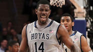 "Here's <a href=""http://data.baltimoresun.com/maryland-recruiting/highschool/?p=1490"">Henry Sims</a>, sweating under the Georgetown logo at the <a href=""http://findlocal.baltimoresun.com/northwest/music/music/verizon-center-washington-music-venue"">Verizon Center</a>. Sims, slapping high fives with Wizards assistant coach Sam Cassell after his workout for Washington. Sims, talking about the 16 or so teams he is working out for. Saying he doesn't want to think about which team is going to draft him, just that it's a blessing someone likely will."