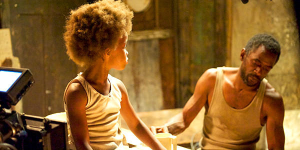 "Actors Quvenzhane Wallis as Hushpuppy and Dwight Henry as Wink in a scene from ""Beasts of the Southern Wild."""