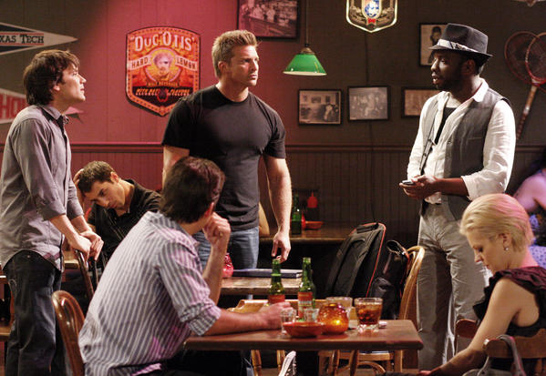 "Dominic Zamprogna (Dante), Jason Cook (Matt), Steve Burton (Jason), Kalup Linzy (Kalup) and Kirsten Storms (Maxie) in a July 2010 scene from ABC Daytime's ""General Hospital."""