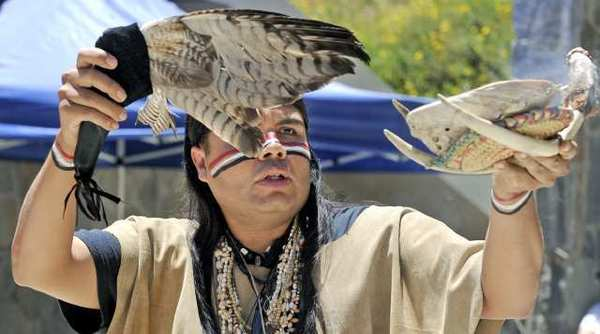 Gabrielino Tongva Nation Dancers from the Gabrielino/Tongva Tribal Council of San Gabriel perform at Stough Canyon Nature Center on Sunday.