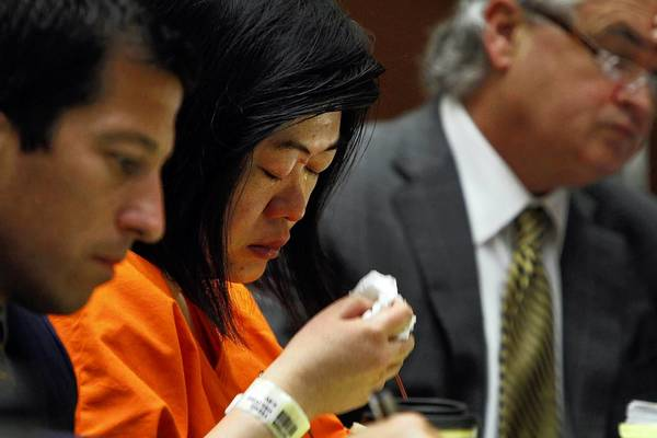 "Hsiu-Ying ""Lisa"" Tseng appears in Los Angeles County Superior Court on Tuesday for the conclusion of her preliminary hearing. She is flanked by lawyers T. Edward Welbourn, left, and Anthony Brooklier."