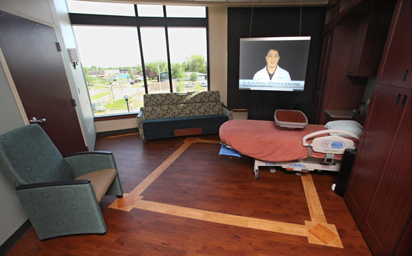A video message from Dr. Kevin Hsiung, Obstetrics and Gynecology at Sanford Health Aberdeen Clinic plays in one of the maternity rooms at Sanford Aberdeen Medical Center during Tuesday's open house. photo by john davis taken 6/26/2012
