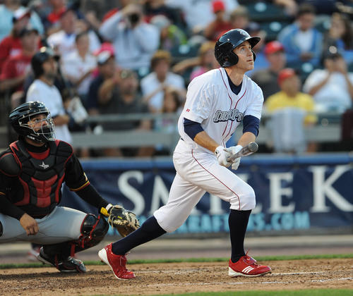 Chase Utley watches his solo home run leave the park during Tuesday night's game. The IronPigs took on the Rochester Red Wings Tuesday evening at Coca Cola Park , June 26, 2012.