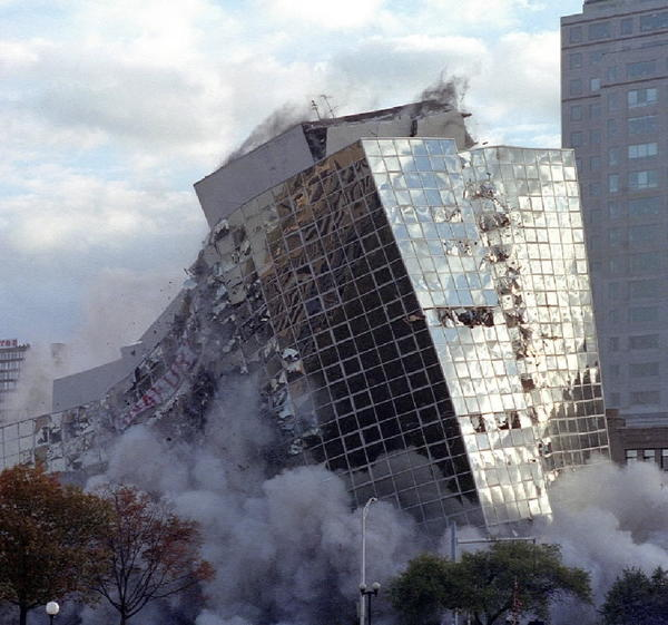 Sunday October 28,1990. The Parkview Hilton falls Sunday morning during an implosion-a planned inward collapse-caused by 56 pounds of dynamite. The hotel closed at the end of 1989 and the site was being considered for the new world headquarters of United Technologies Corp. Photo by Michael Kodas/The Hartford Courant.