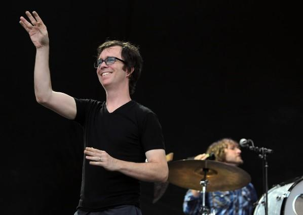 Ben Folds waves to the crowd during a performance at the Dave Matthews Band Caravan at Lakeside on Chicago's South side July 9, 2011.