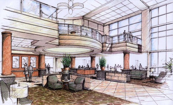 An artist's rendering of the main lobby area of the Riverside Regional Medical Center Pavilion.