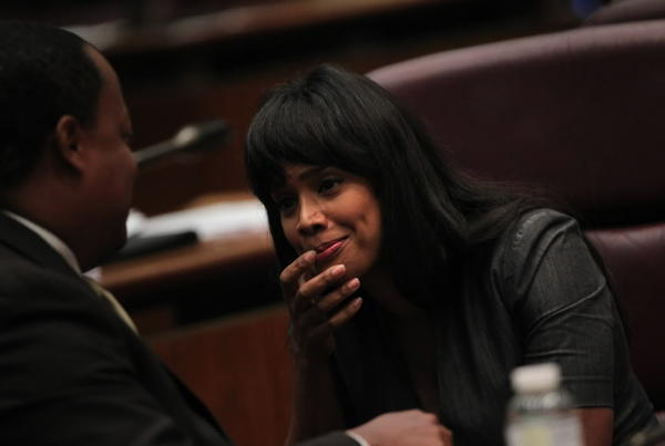 Ald. Sandi Jackson, seen here last October, declined to talk about U.S. Rep. Jesse Jackson Jr.'s condition or whereabouts today.