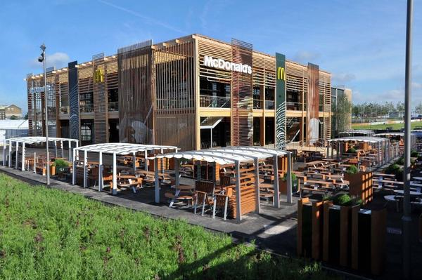 A world-first for McDonald's in regard to sustainability, the restaurant is designed to be reusable and recyclable after the Games.
