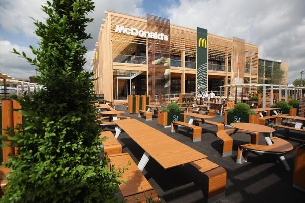 An exterior view of the world's largest McDonald's restaurant