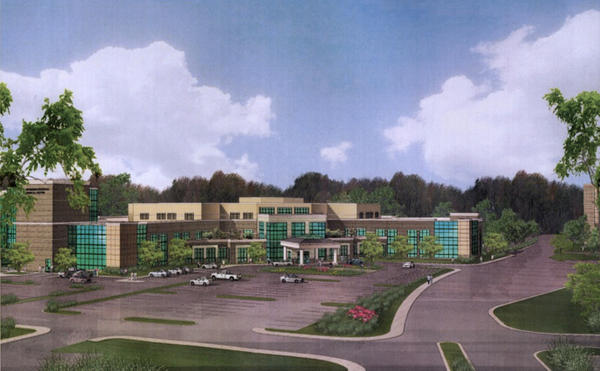 An artist's exterior rendering of Riverside Regional Medical Center's new surgical pavilion.