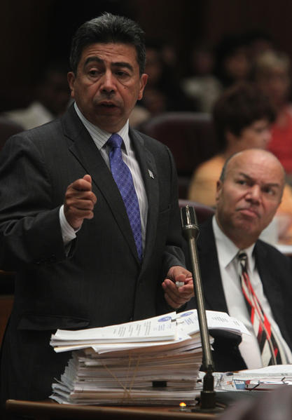 Ald. Daniel Solis, 25th, sponsor of the marijuana bill, speaks to the City Council today.