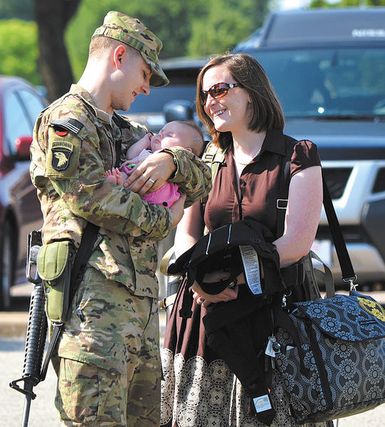 Keedysville native, Capt. Chris Robertson, U.S. Army, says goodbye to his wife Erica (Stewart) Robertson, a Boonsboro native, and their 3-month-old daughter, Evelyn Kay. Robertson was deployed to Afghanistan last month.