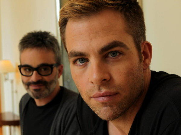 "Actor Chris Pine (right) and director Alex Kurtzman from ""People Like Us."""