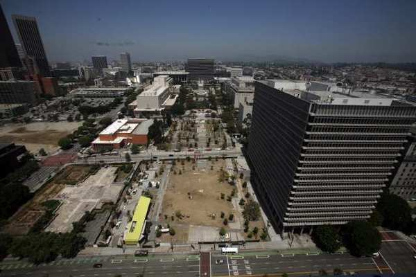 A view of the Grand Park construction site in downtown L.A.