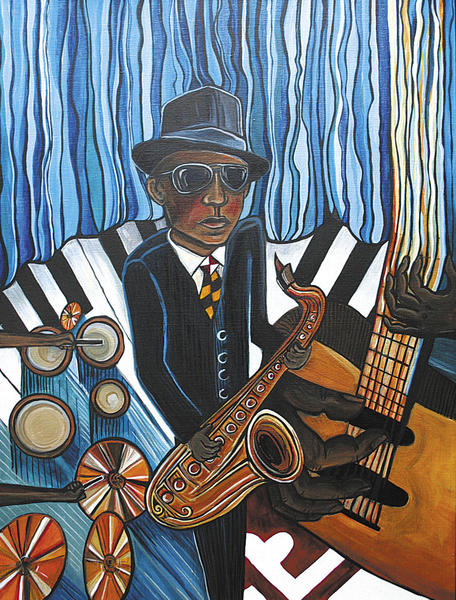 Artwork by 2012 Blues Fest poster artist Kate Fortin is on display through Tuesday, July 3, at Washington County Arts Council in downtown Hagerstown.