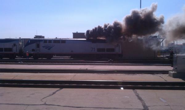 Fire in a locomotive in a train yard southwest of the Loop.