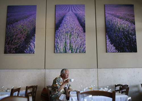 Pacific Palisades resident Ernie Wong sips a coffee during Sunday brunch at Maison Giraud.