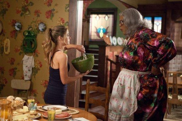 "Denise Richards, left, stars with Tyler Perry in ""Madea's Witness Protection."""