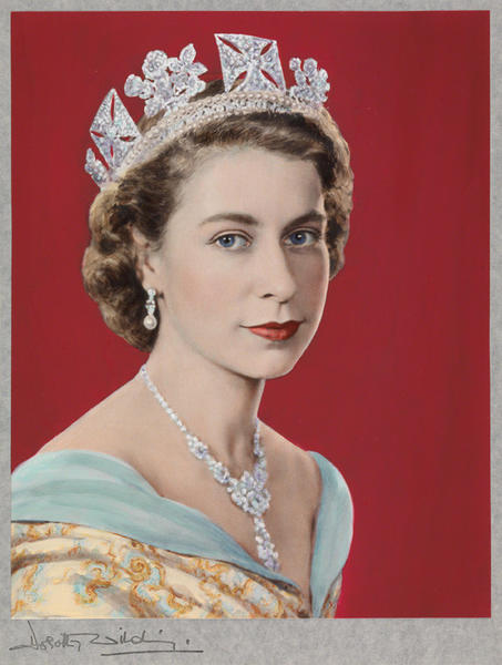 """Queen Elizabeth II, 1952"" is on display at the ""Queen: Art & Image""  exhibition at the National Portrait Gallery in London."