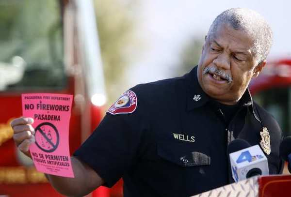 Pasadena Fire Dept. Chief Calvin Wells said those wanting to see fireworks should do so at a sanctioned event, during a press conference near the Rose Bowl in Pasadena.