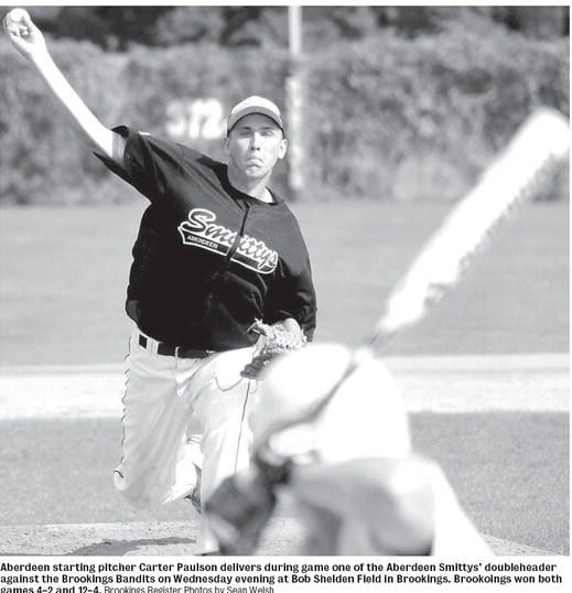 Aberdeen starting pitcher Carter Paulson delivers during game one of the Aberdeen Smittys doubleheader against the Brookings Bandits on Wednesday evening at Bob Shelden Field in Brookings. Brookoings won both games 4-2 and 12-4. Brookings Register Photos by Sean Welsh