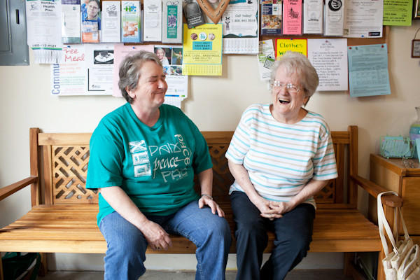 Merrie Goodrich and her mother, Jeanne Goodrich, enjoy their visits to Good Samaritan Family Services. The organization has helped their family make ends meet in tough times.