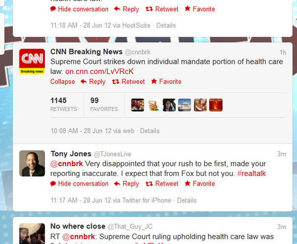 "CNN Breaking News tweets ""Supreme Court strikes down individual mandate portion of health care law"""
