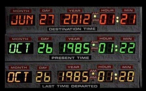 """Do not believe your eyes. A company called Simply Tap has admitted to tampering with this image of the DeLorean's dashboard in """"Back to the Future II"""" as a marketing stunt."""