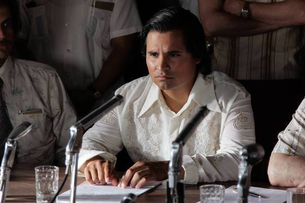 "Michael Pena as Cesar Chavez on the set of the movie ""Chavez."""