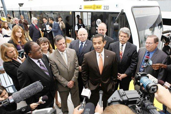 Mayor Antonio Villaraigosa speaks during a news conference at the Culver City Expo Line station last week.