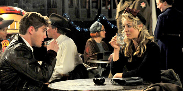 "Silas (Jesse James) and Wanda (Kaley Cuoco) share a drink on New Year's Eve at Dirty John's bar in ""The Last Ride."""