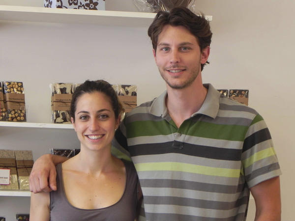 Zoe and Pantelis Tsoukatos, two of the three siblings, who own Zoe's Chocolate are shown in their store at 34 E. Main St in Waynesboro, Pa.