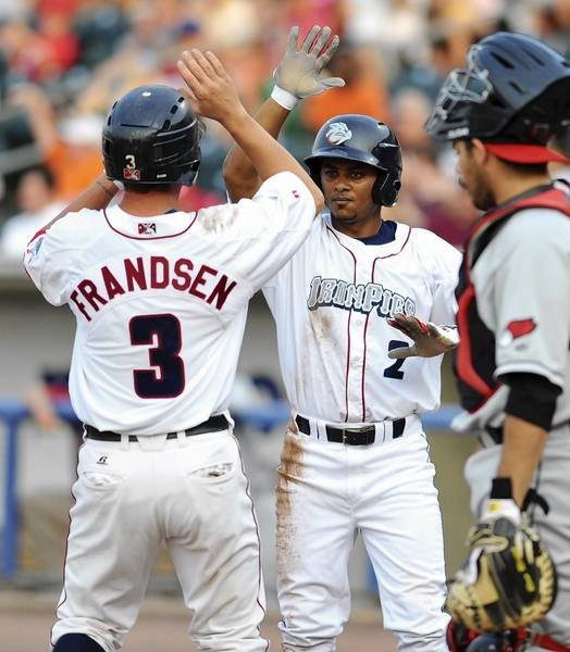IronPigs' #3 Kevin Frandsen and #2 Michael Martinez celebrate after scoring the first two runs in their game against the Rochester Red Wings held at Coca-Cola Park on Thursday.