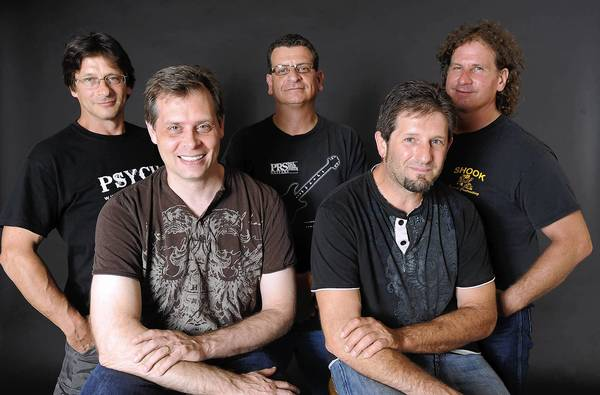 Psych includes Chris Moser (left front), Scott Howell (right front), Paul Bodogh (back left), Mike Langella (back center) and Donald Boccadoro (back right).